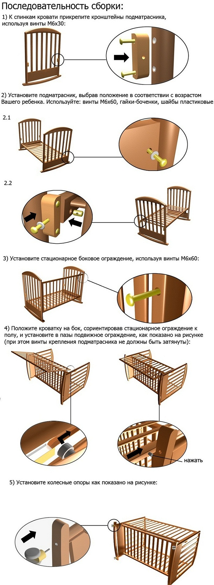 Схема сборки кроватки Papaloni