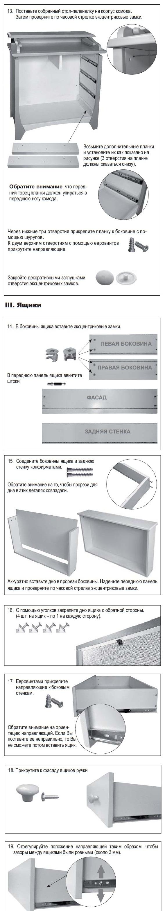 Схема по сборке пеленального комода Papaloni 3